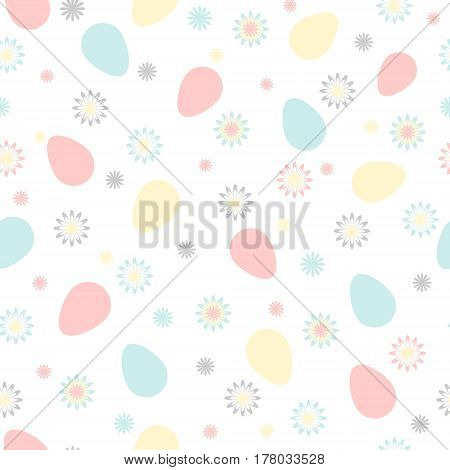 Easter seamless pattern with color chicken eggs and flowers. Perfect for wallpaper gift paper pattern fills web page background spring and Easter greeting cards. Soft pastel colors.