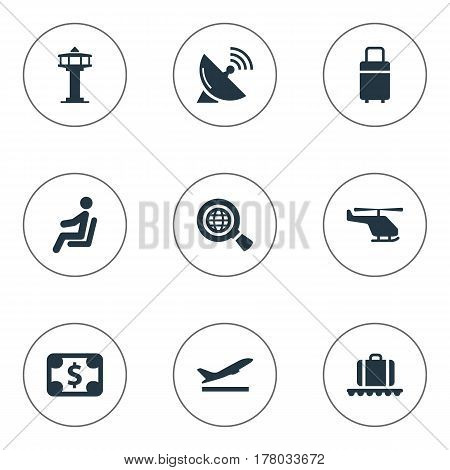 Vector Illustration Set Of Simple Airport Icons. Elements Currency, Takeoff, Travel Bag And Other Synonyms Conveyor, Copter And Dollar.
