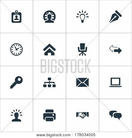Vector Illustration Set Of Simple Commerce Icons. Elements Printing Machine, Computer, User And Other Synonyms User, Idea And Office.