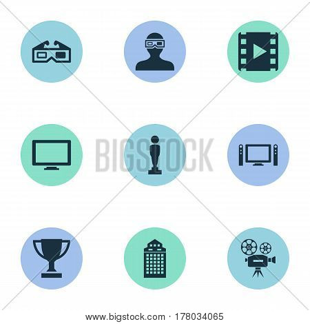 Vector Illustration Set Of Simple Cinema Icons. Elements Home Cinema, Video Camera, Oscar And Other Synonyms Trophy, Champion And Home.
