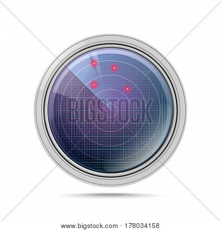 3D radar with targets in process. Navigation HUD interface icon. Military radar screen isolated on white. Vector illustration