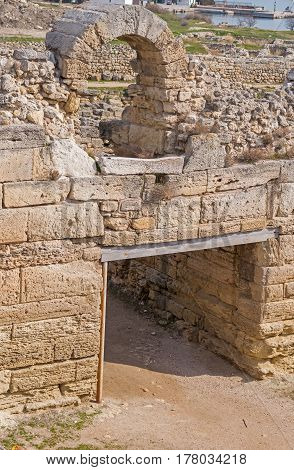 the big Ruins of ancient fortress wall