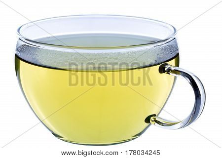 Cup of tea green japanese sencha tea isolated on white clipping-path included