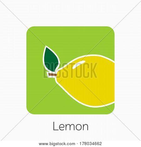 Lemon Icon Simple Flat Vector Illustration. Fresh Lemon Sign