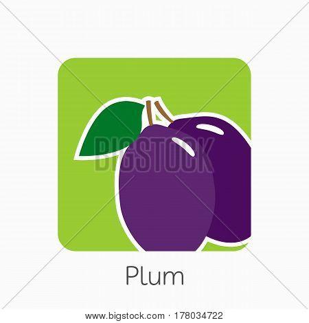 Plum Icon Simple Flat Vector Illustration. Fresh Plum Sign
