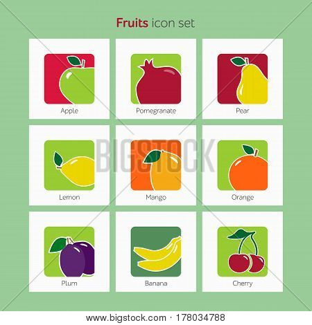 Fruit Icon Set Simple Flat Vector Illustration