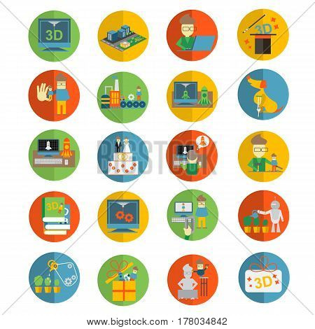 Printer 3d flat icons set for Sculpturing, creation of figurines and souvenirs - vector illustration