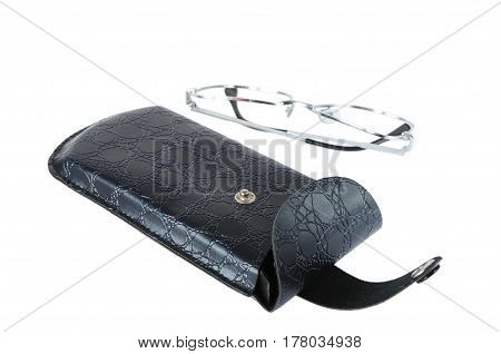 The spectacle case isolated on white background