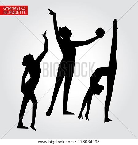 Vector three gymnastics silhouette with place for text. Illustration card for your cute design.