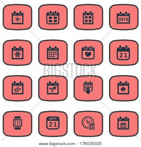 Vector Illustration Set Of Simple Date Icons. Elements Plant, 2016 Calendar, Intelligent Hour And Other Synonyms Day, Plant And Smart.