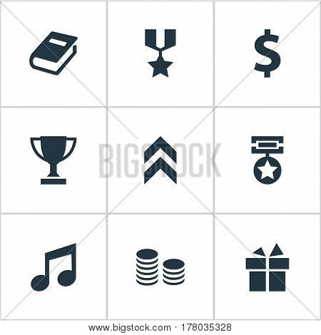 Vector Illustration Set Of Simple Achievement Icons. Elements Growth Diagram, Currency, Money And Other Synonyms Note, Champion And Cup.