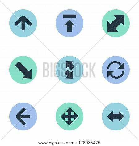 Vector Illustration Set Of Simple Arrows Icons. Elements Reverse, Down Right, Upward Direction And Other Synonyms Transfer, Direction And Upload.