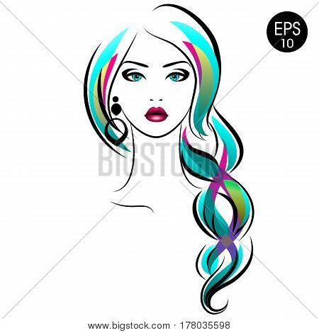Vector Stock Woman with braid. Beauty Girl Portrait with Colorful hair and Earrings for your design
