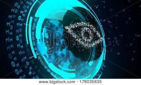 Abstract cyber digital eye. Internet technology security concept.