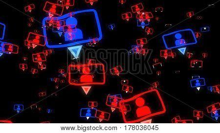 Social Media Concept On A Black Background.