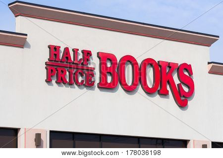MINNEAPOLIS MN/USA - MARCH 19 2017: Half Price Books exterior and logo. Half Price Books Records Magazines Incorporated is a chain of new and used bookstores in the United States.