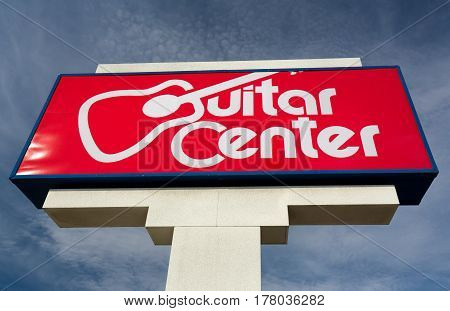MINNEAPOLIS MN/USA - MARCH 19 2017: Guitar Center retail store exterior and logo. Guitar Center is the largest chain of musical instrument retailers in the world.