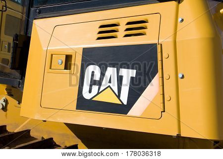HUDSON WI/USA - MARCH 14 2017: Caterpillar heavy duty equipment vehicle and logo. Caterpillar is a leading manufacturer of construction equipment.