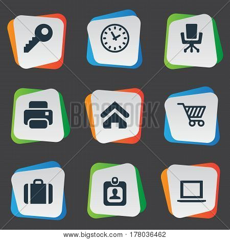 Vector Illustration Set Of Simple Business Icons. Elements Handbag, Printing Machine, Trading Purse Synonyms Office, Password And Key.