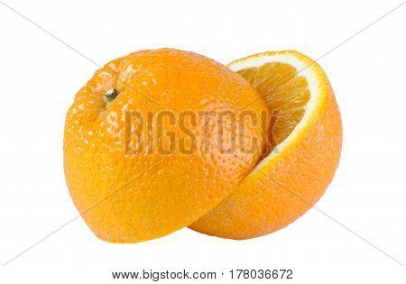 The halves of orange on white background