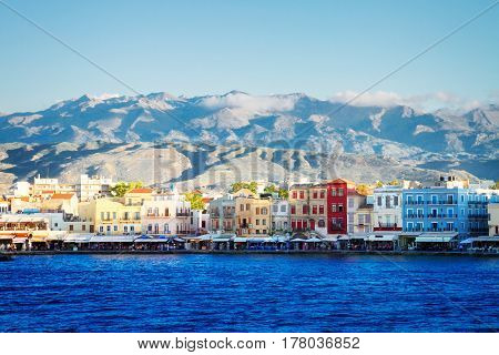 venetian habour of Chania at sunny day, Crete, Greece, toned