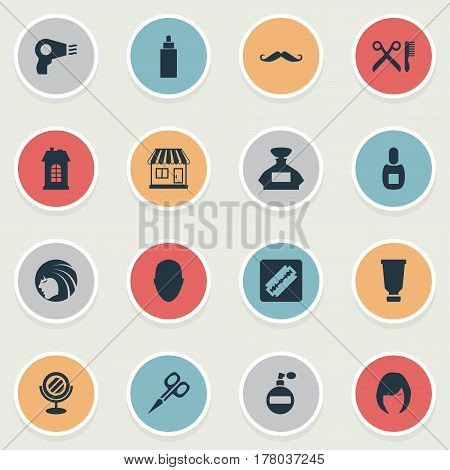 Vector Illustration Set Of Simple Beautician Icons. Elements Shaver, Flask, Aroma And Other Synonyms Flask, Scent And Male.