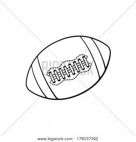 Vector illustration. Hand drawn doodle of leather American football or rugby ball. Sports equipment. Cartoon sketch. Decoration for greeting cards posters emblems wallpapers