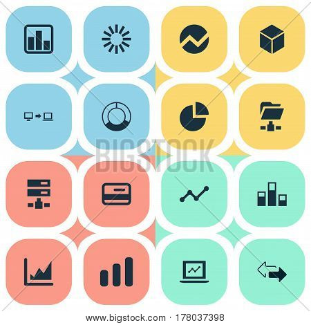 Vector Illustration Set Of Simple Information Icons. Elements Presentation, Digital Documnet, Spreading Chart And Other Synonyms Chart, Circular And Shape.