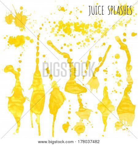 Juice orange and apple splashes isolated on white background, hand draw artwork