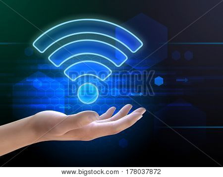 Wifi symbol over an open hand. 3D illustration.