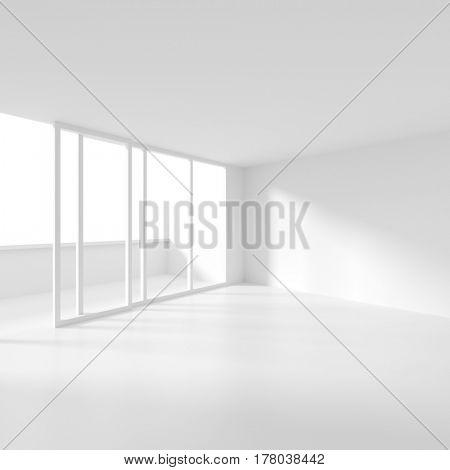Modern Interior Background. 3d Illustration of White Empty Room