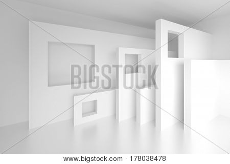 Abstract Architecture Design. 3d Rendering of White Modern Background