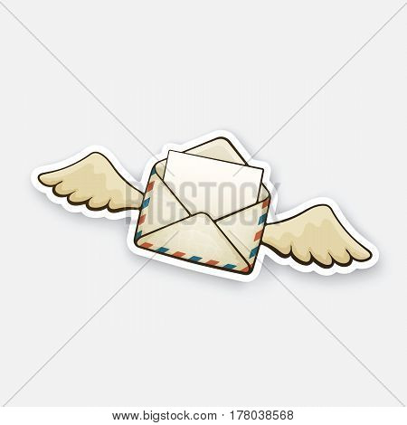 Vector illustration. Flying opened vintage mail envelope with wings. Incoming message has been read. Sticker in cartoon style with contour. Decoration for greeting cards, patches, prints for clothes, badges