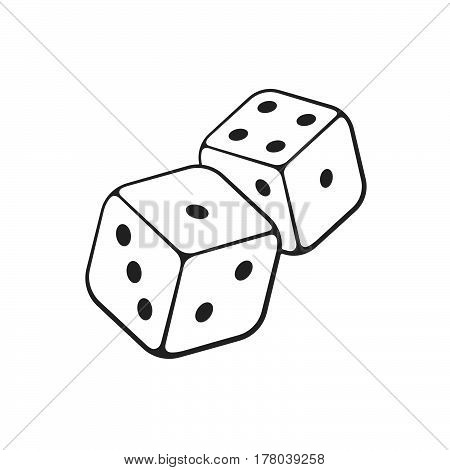 Vector illustration. Hand drawn doodle of two white dice with contour. Gambling symbol. Cartoon sketch. Decoration for greeting cards posters emblems wallpapers