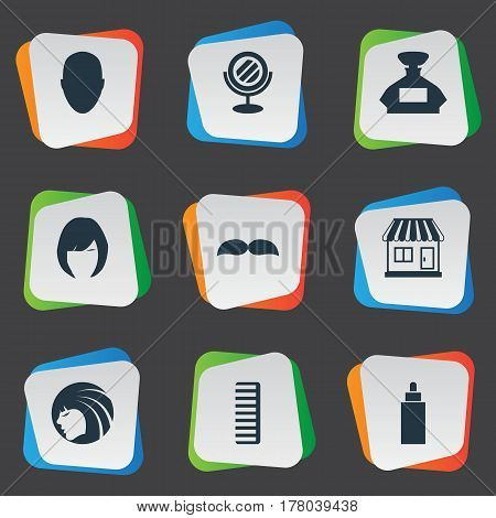 Vector Illustration Set Of Simple Hairdresser Icons. Elements Supermarket, Human, Hair And Other Synonyms Beard, Head And Perfume.