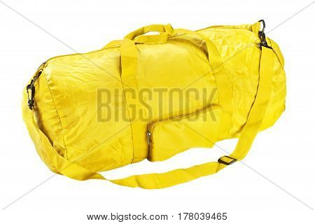 Yellow road sports bag. Studio photography handbag isolated on white background. Close up.