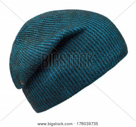 Hat Isolated On White Background .knitted Hat.blue Hat