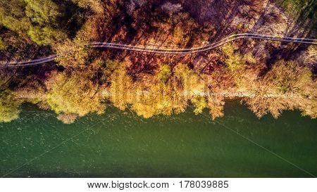 Aerial shot of the Sava river in Croatia