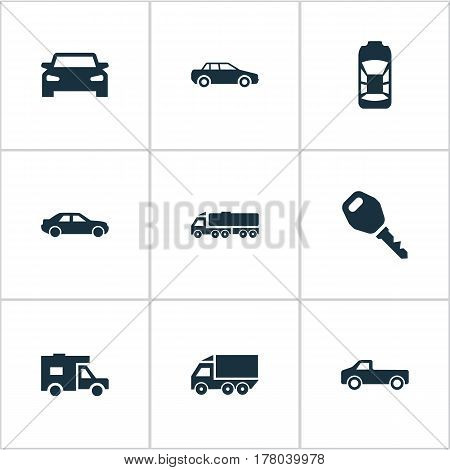Vector Illustration Set Of Simple Transport Icons. Elements Key, Carriage, Driving And Other Synonyms Truck, Transportation And Cargo.