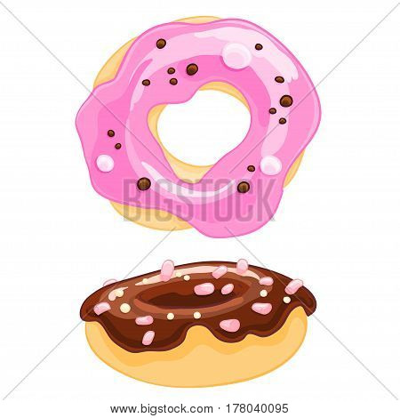 Two sweet cartoon icons donut with sprinkles, frosting and the marshmallow. Vector illustration isolated on white. T-shirt printing.