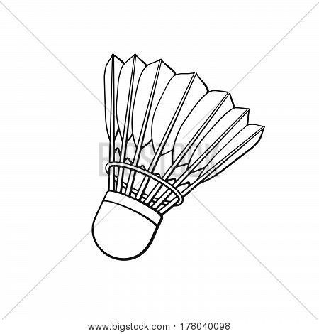 Vector illustration. Hand drawn doodle of shuttlecock for badminton from bird feathers. Sports equipment. Cartoon sketch. Decoration for greeting cards posters emblems wallpapers