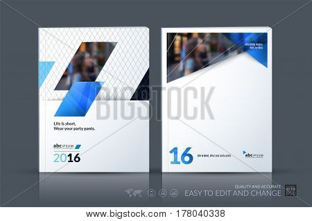 Business vector template. Brochure layout, cover modern design annual report, magazine, flyer in A4 with blue diagonal, rectangular shapes for business with abstract texture background.