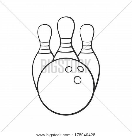 Vector illustration. Hand drawn doodle of bowling ball and pins. Sports equipment. Cartoon sketch.