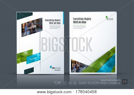 Business vector template. Brochure layout, cover modern design annual report, magazine, flyer in A4 with green diagonal, rectangular shapes for business with abstract texture background.