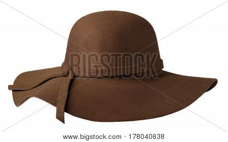 Women's Hat Felt Isolated On White Background .fashion Hat Felt.brown Hat