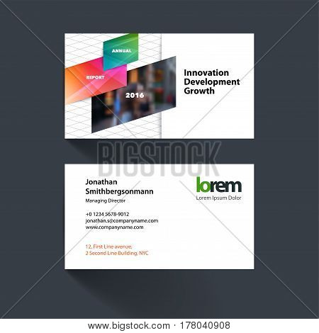 Vector business card template with colourful diagonal, rectangular shapes for eco, business, tech. Simple and clean design. Creative corporate identity layout set with effects.