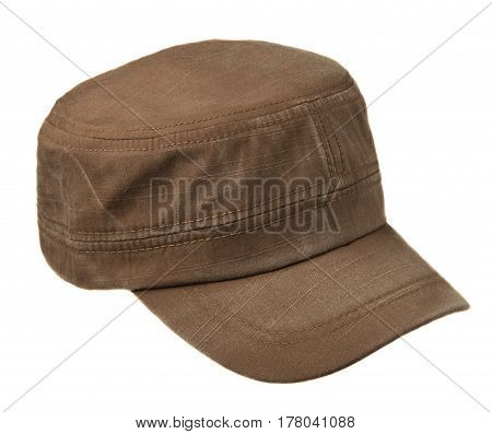 hat isolated on white background. Hat with a visor.brown hat .