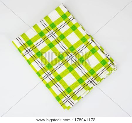 Kitchen towels, napkins with different patterns. Studio Photo
