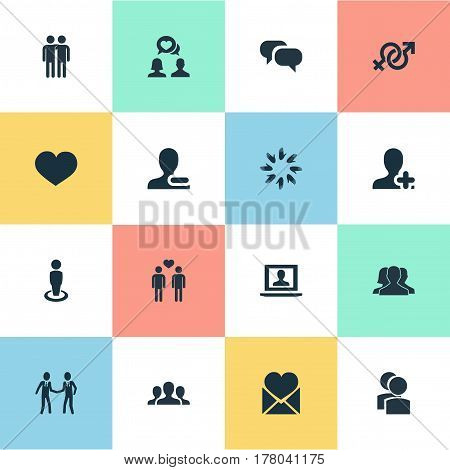 Vector Illustration Set Of Simple Friends Icons. Elements Camaraderie, Remove User, Fellows And Other Synonyms Group, Soul And Only.