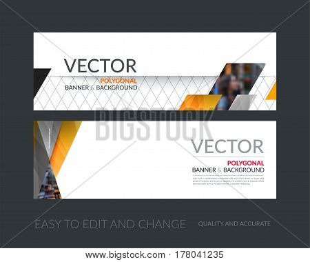 Vector set of modern horizontal website banners with yellow diagonal, rectangular shapes for industry, beauty, tech, communication. Clean web headers design with overlay effect.